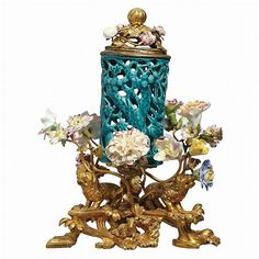 Louis XV Gilt-Bronze Mounted Turquoise Glazed Floral Encrust