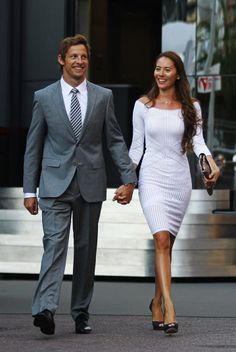 Jenson Button; now a veteran of the grid and married to fashion model Jessica Michibata, Button has traded a tacky, playboy image of the early noughties for bespoke tailoring and sharp suits, thanks in large part to a long-running sponsorship deal with Hugo Boss.