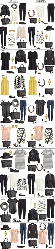 10 Day Vacation Packing list with 10 Day To Night Looks. 10 Day Vacation Packing list with 10 Day To Night Looks. Mode Outfits, Casual Outfits, Fashion Outfits, Womens Fashion, Europe Outfits, Italy Outfits, Packing Outfits, Travel Outfits, Night Outfits