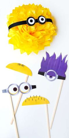 Fun photo props at a Despicable Me Minions baby shower party! See more party planning ideas at CatchMyParty.com!