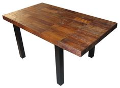 Urban Rustic Collection - Dining Table - Design #17 - Shown Expanded with Distressed Reclaimed Wood Top with Ebony Mahogany Legs - Item #DT00458 - Custom Sizes - Distressed & Smooth Finish Options - Mahogany & Reclaimed Wood Combination Options - Reclaimed Wood Available in 10 Standard Colors & 1000 Custom Colors