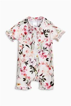 Pink Floral Frill Sunsafe Suit (3mths-6yrs)