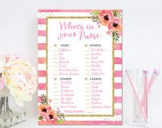 Pink and Gold Baby Shower Game Printable by BluePondPrintables