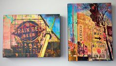 If only I had the money to spend on these... Two 9x12 inch wood panels, Minnesota art, wall art, Minneapolis art, Grain Bell beer,
