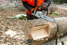 Holzstern aus Stamm schneiden