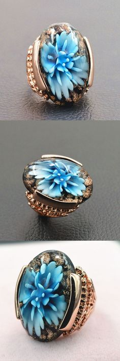 Noble Luxury Rose Gold Color Blue/pink Flower Lampwork Glass Big Stone Ring Fashion Engagement Wedding Jewelry anillos de oro
