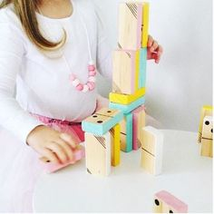 Handmade wooden dominoes from hello pear designs