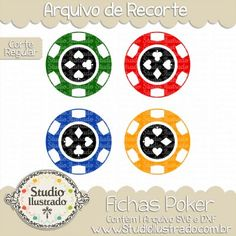 Poker Chips, Fichas Poker, Cassino, Casino, Jogo de Cartas, Naipes, Card Game, Suits, Ouros, Espadas, Paus, Corações, Diamonds, Spades, Clubs, Hearts, Sorte, Azar, Luck, Bad Luck, Chance, Corte Regular, Regular Cut, Silhouette, DXF, SVG, PNG
