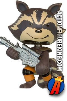Funko Marvel Mystery Minis ROCKET RACCOON 2.5-inch bobblehead figure. Visit our website for a complete database of Funko products including Marvel Mystery Minis. #rocketraccoon #marvelmysteryminis #guardiansofthegalaxy #funko #mysteryminis #gotg