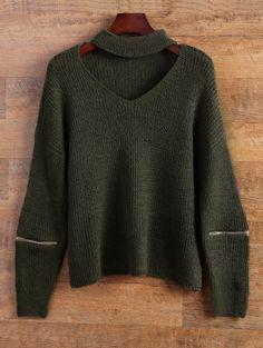 $18.49 Choker Oversized Sweater ARMY GREEN: Sweaters | ZAFUL