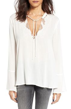 Lush Crochet Trim Bell Sleeve Blouse available at #Nordstrom  small, off white