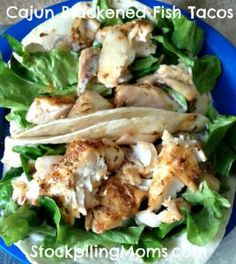 """Cajun Blackened Fish Tacos are so delicious and easy to prepare. This recipe is perfect for Lent or Mardi Gras. This could be gluten free if you used corn tortilla or a gluten free flour tortilla. You could also make this a clean dish by removing the tortilla and enjoying it on a bed of lettuce. I love all of the spices that are used. Be sure to """"PIN"""" this great recipe so you will have it when you are ready to make it. Please follow us on Pinterest and enjoy hundreds of recipes, crafts…"""