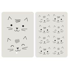 Lot de 2 cartes chat avec le ravissant dessin de têtes de chats, dos blanc uni pour écrire votre message, coins arrondis, design Zü, fabriqué en France. Pour compléter un cadeau et laisser un message personalisé. On aime son graphisme et la bouille des chats !