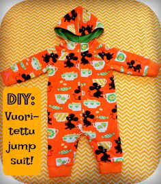 DIY: Vuoritettu jumpsuit Sewing For Kids, Diy For Kids, Sewing Hacks, Sewing Tips, Toddler Outfits, Knit Crochet, Knitting Patterns, Jumpsuit, Baby