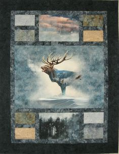 """Need help turning fabric panels or large-scale fabric into a quilt or wall hanging? This pattern by Kari Nichols from Mountainpeek Creations is designed to do just that. Choose panels of 40.5"""" x 22.5"""" (2/3 yard), 40.5"""" x 28.5"""" (7/8 yard) and 40.5"""" x 34.5"""" (1 yard) or directional length of fabric any size: 1 1/6 yards. Included are fabric requirements for accent rectangles, sashing, borders, backing and binding. Great to cuddle up with a good book! Finished size: 54.5"""" x from 64.5"""" up to 76.5"""". Fabric Panel Quilts, Lap Quilts, Scrappy Quilts, Mini Quilts, Fabric Panels, Quilting Projects, Quilting Designs, Quilting Ideas, Quilting Tutorials"""