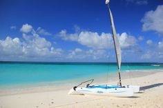 Sailing a small Hobie around Anguilla's clear seas is one of my favorite things to do. This photo is snapped on a secluded beach at one of Anguilla's off-island cays, Prickly Pear.