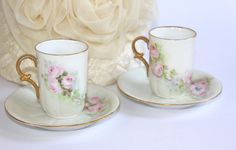 Antique Chocolate Cups and Saucers / Limoges Style / SET of 2 - pinned by pin4etsy.com