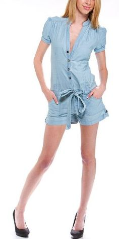 Women's Cotton Button Front Romper