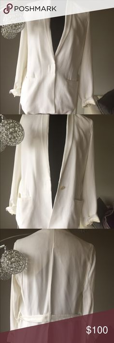 Helmut Lang white crepe blazer White crepe blazer by Helmut Lang. Once button hidden closure. Belt. 2 pockets. Lined across shoulders and front panels. Size 2 but easily fits 4-6. I'm a 6 and this fits loosely Helmut Lang Jackets & Coats Blazers