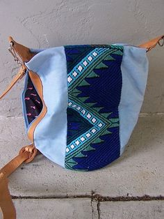 Guatemalan Colorful Shoulder Bag Lg Purse - Leather/Handwoven Cloth - Guatemala
