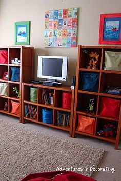 basement/playroom storage Add a bigger TV and that's damn near perfect. - Easy DIY Remodeling - basement/playroom storage Add a bigger TV and that's damn near perfect. basement/playroom storage Add a bigger TV and that's damn near perfect. Daycare Rooms, Home Daycare, Basement Remodel Diy, Basement Remodeling, Basement Plans, Boy And Girl Shared Bedroom, Kids Bedroom, Playroom Organization, Playroom Ideas