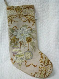 Needle Point Christmas Stocking with Christmas Balls. www.kathysholiday.com