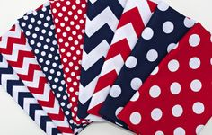 Fat Quarter Bundle -  Riley Blake Chevron & Dots in Navy / White and Red  / White - 8 pieces (Total 2 yards) - Patriotic. $17.90, via Etsy.