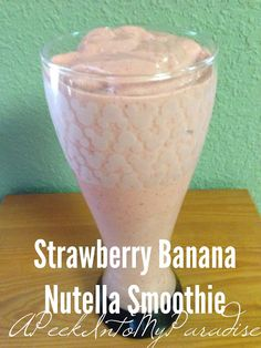 A Peek Into My Paradise: Strawberry Banana Nutella Smoothie Recipe Nutella Smoothie, Nutella Milkshake, Smoothie Blender, Vitamix Blender, Blender Recipes, Orange Juice Smoothie, Strawberry Banana Smoothie, Healthy Breakfast Smoothies, Fruit Smoothies