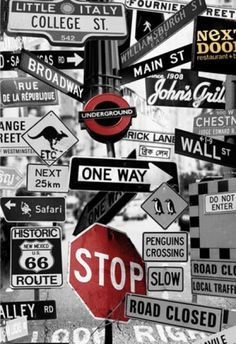 Street Signs Mural by Mr Perswall Mural Wallpaper Direct is part of Teen room A fun photo montage of road signs, with some quirky additions Available in 3 colours shown in the black and white - Handy Wallpaper, Wallpaper Direct, Screen Wallpaper, Wallpaper Backgrounds, Iphone Wallpaper, Graffiti Wallpaper, Wallpaper Murals, Unique Wallpaper, Wallpaper Gallery