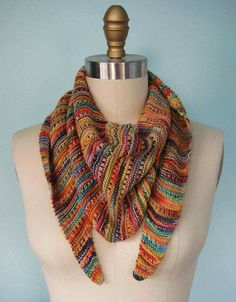 No link, no pattern, saved for colors used #scarf #triangle #knitting #fall