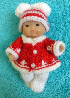 """Hand knitted Christmas clothes for 5"""" Berenguer Doll (#156) 