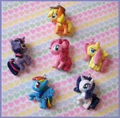 mandypandaa.deviantart.com ||| My Little Pony: Friendship Is Magic chibi charms, clay, doll, Twilight Sparkle, Applejack, Pinkie Pie, Fluttershy, Rainbow Dash, Rarity, pegasus, unicorn