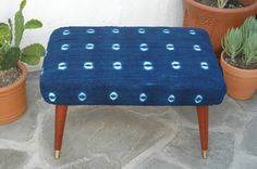 Mid Century Modern Ottoman with Authentic Indigo African Mudcloth Fabric Mud cloth Vintage MCM Footstool Upcycled Bench by territoryhardgoods on Etsy