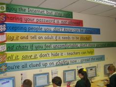eSafety-l ots of good links for internet safety - great display Class Displays, School Displays, Classroom Displays, Classroom Organisation, Ict Display, Science Display, Display Ideas, Computer Lab Classroom, Computer Class