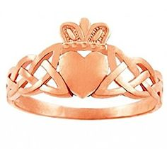 Trinity Band 10k Rose Gold Claddagh Promise