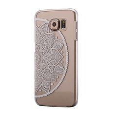 Coque pour Samsung Galaxy S6, Amison Henné Mandala Floral Blanc Transparent Housse Plastique Case Cover (style 4)