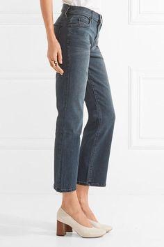 Current/Elliott - The Kick Cropped Mid-rise Flared Jeans - Dark denim -