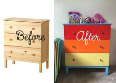 Rainbow Dash Drawers Ikea hack, My Little Pony Dresser, Rainbow Dash Dresser, My Little Pony bedroom, Ikea Tarva, DIY