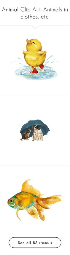 """Animal Clip Art, Animals in clothes, etc."" by judymjohnson ❤ liked on Polyvore featuring dogs, spring, animals, umbrella, home, home decor, wall art, drawings, beach and filler"