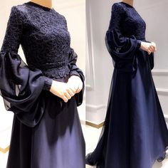 hijab dress Image may contain: one or more people and people standing. Hijab Prom Dress, Hijab Gown, Muslimah Wedding Dress, Hijab Evening Dress, Muslim Dress, Dress Outfits, Evening Dresses, Abaya Fashion, Muslim Fashion