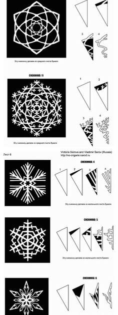 Imprimer le mode d 39 emploi du flocon de neige en papier - Flocon de neige en papier pliage ...