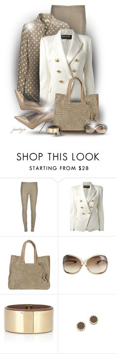 """Khaki for Kicks"" by rockreborn ❤ liked on Polyvore featuring Joseph, Balmain, Tom Ford, Sergio Rossi, Chloé and House of Harlow 1960"