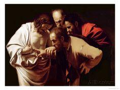 The Incredulity of St. Thomas, 1602-03 Impressão giclée por Caravaggio na AllPosters.com.br