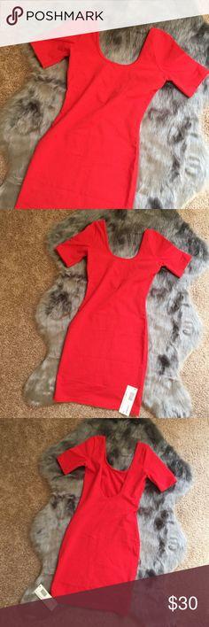 NWT American Apparel cotton spandex jersey dress NWT American Apparel cotton spandex jersey double U neck mini dress. Size: S. Color: Red. American Apparel Dresses Mini
