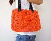Beige Handbag Celebrity Style With Genuine Leather Straps / Handles shoulder bag-crocheted bag-hand made. $130.00, via Etsy.