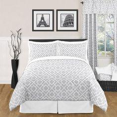Sweet JoJo Designs Grey and White Diamond 3-piece Full / Queen-size Bedding Set
