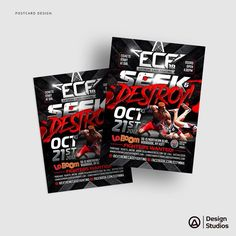 "ECF 18 ""Seek & Destroy!"" Postcard Design. ----------------------------------- #graphicdesign #graphicartist #artist #typography #design #creative #agency #mma #fitness #mixedmartialarts #ufc #ecf #cagefight #nyc @laboomny @extremecagefighting #artist #branding #brand #gym #martialarts"