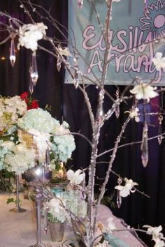 ICED TREE WITH CRYSTALS AND ORCHIDS White Peonies, White Roses, Spray Roses, Bridal Show, Blue Hydrangea, Tiffany Blue, Winter Wonderland, Paper Flowers, Orchids