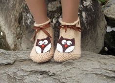 Owl Slippers Knit House Slipper Home Slippers Womens by HeraScarf