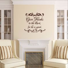 Vinyl Wall Decal Give Thanks to the Lord Christian Thanksgiving Decor 22479 Decal measures approx. x The color samples shown have been reproduced and may vary slightly from actual colors Christian Wall Decals, Christian Decor, Thanksgiving Decorations, Christmas Decorations, Holiday Decor, Give Thanks, Vinyl Wall Decals, Home Decor Items, Diy And Crafts